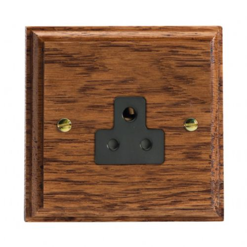 Varilight XKRPMOB Kilnwood Medium Oak 1 Gang 2A Round Pin Plug Socket